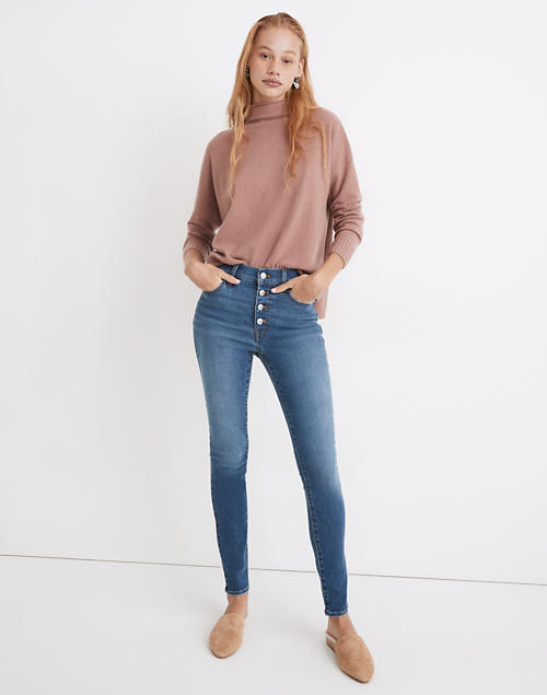 """9"""" Mid-Rise Skinny Jeans in Varney Wash: Button-Front Edition in varney wash"""