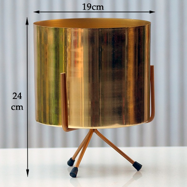 Metal Flower Pot With Tripod Stand (Golden)