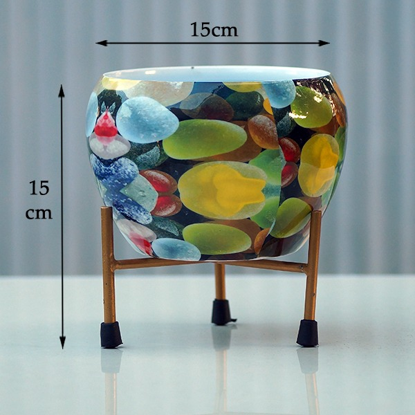 Round Metal Pot With Stand (coloured pebbles)