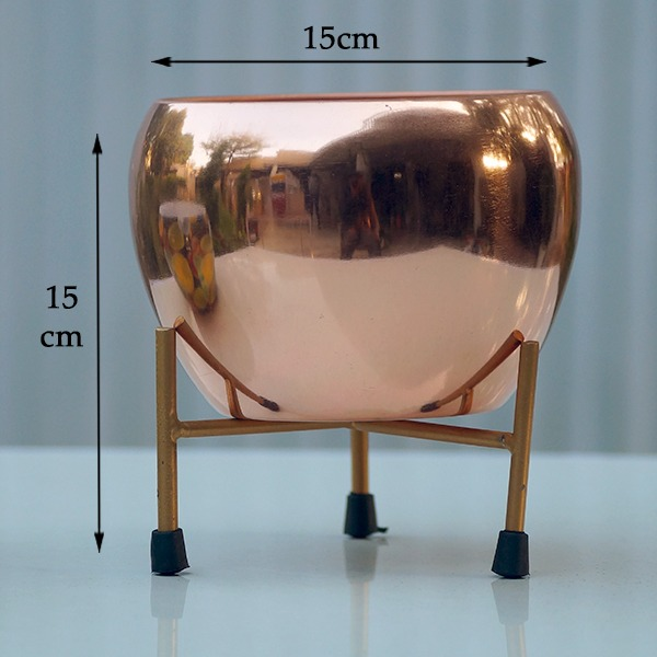 Round Metal Pot With Stand (Basic copper)