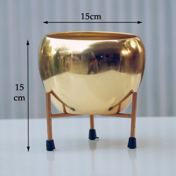 Round Metal Pot With Stand (Basic gold)