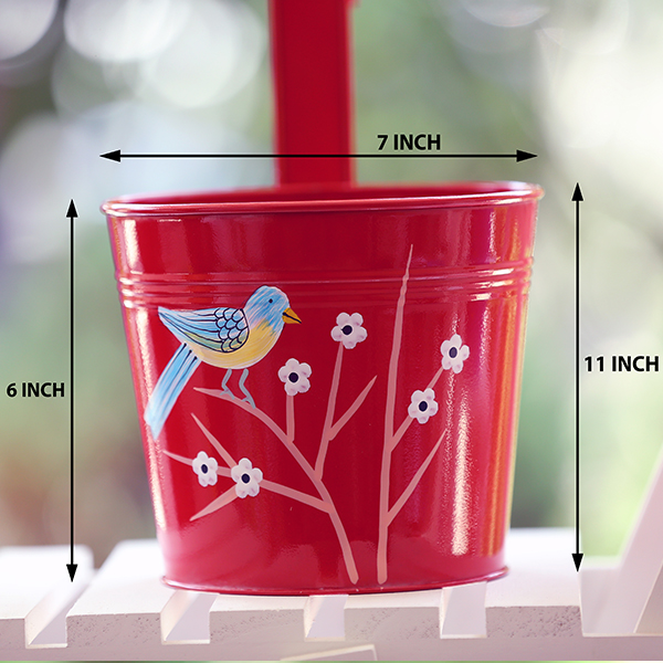 Single hook round Floral railing planters (red)