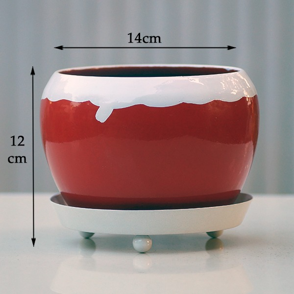 Round Metal Pot With Plate (red )