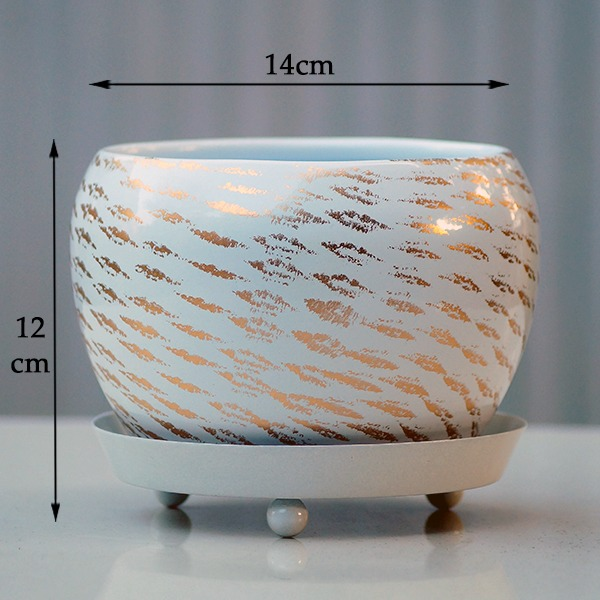 Round Metal Pot With Plate (white)