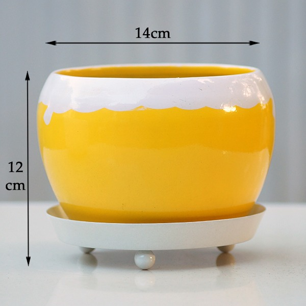 Round Metal Pot With Plate (Yellow)