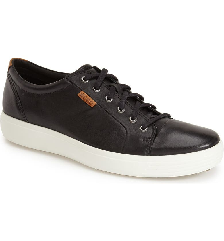 ECCO Soft VII Lace-Up Sneaker, Main, color, BLACK LEATHER