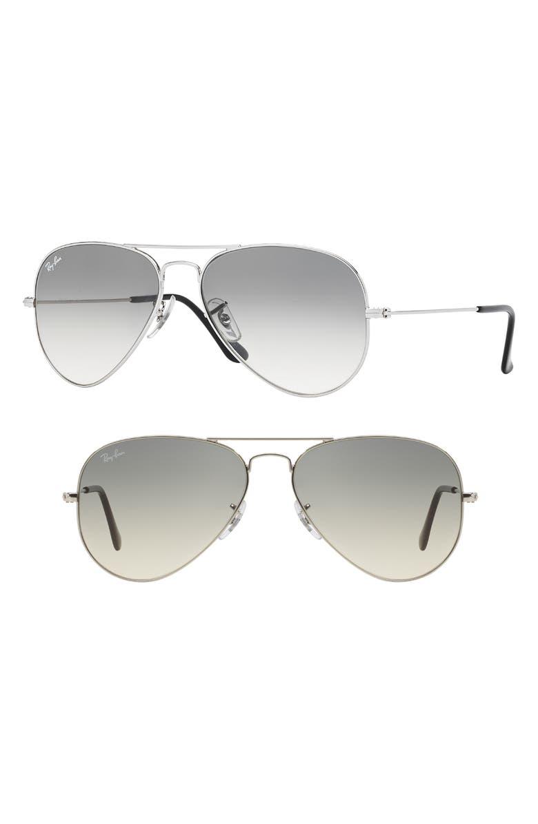 RAY-BAN Standard Original 58mm Aviator Sunglasses, Main, color, GRADIENT SMOKE