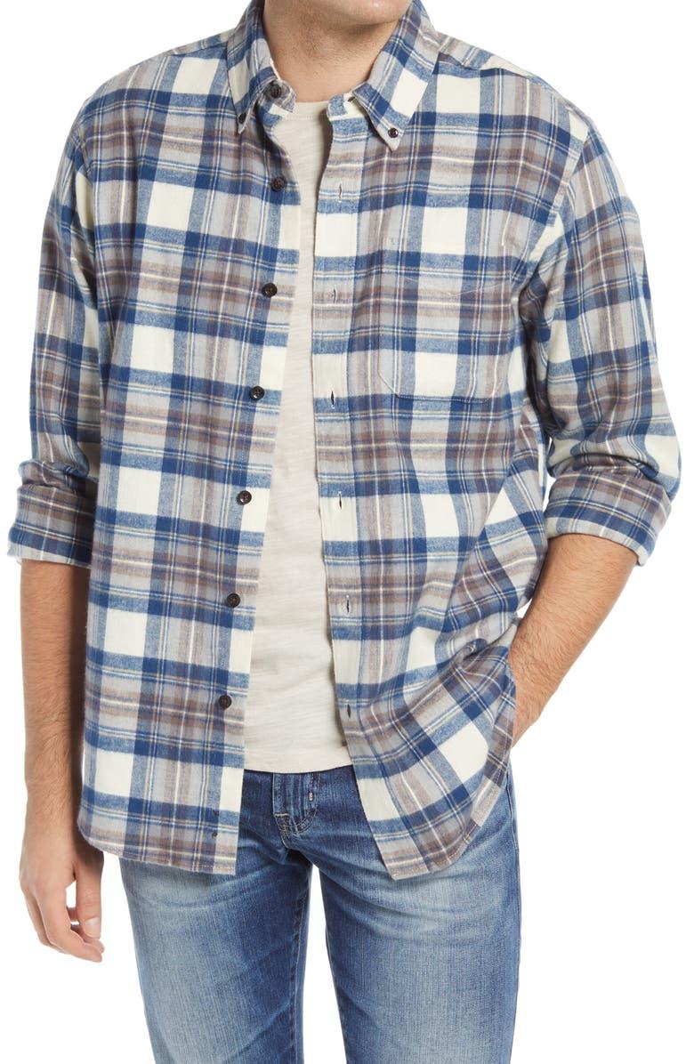 L.L.BEAN Men's Traditional Fit Scotch Plaid Button-Down Flannel Shirt, Main, color, INDIGO TARTAN
