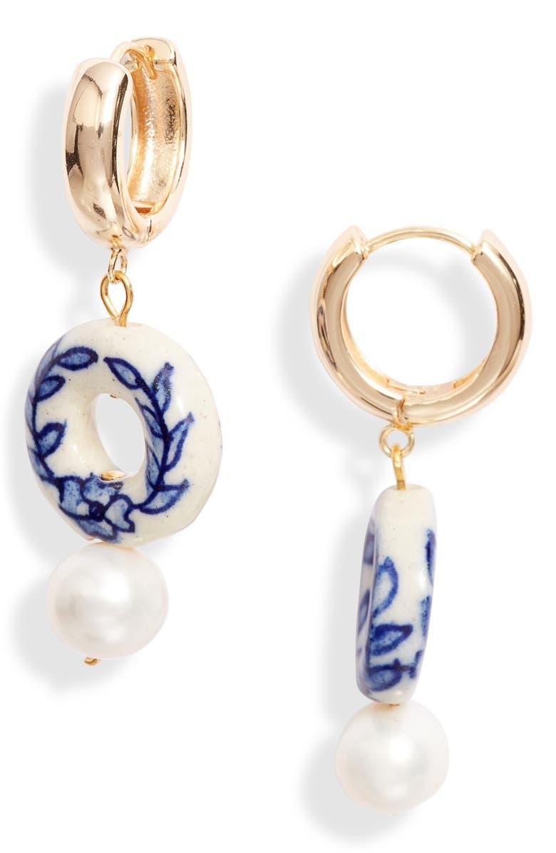 SIIZU Gracie Donut Genuine Pearl Drop Earrings, Main, color, BLUE