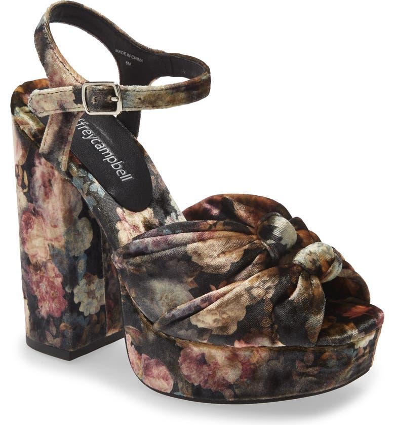JEFFREY CAMPBELL Knot 2Day Platform Sandal, Main, color, BLACK PINK VELVET FLORAL