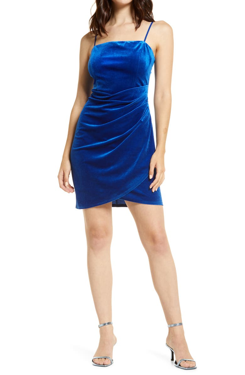 LOVE, NICKIE LEW Velvet Minidress, Main, color, ROYAL