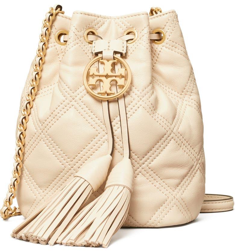 Fleming Mini Leather Bucket Bag, Main, color, NEW CREAM