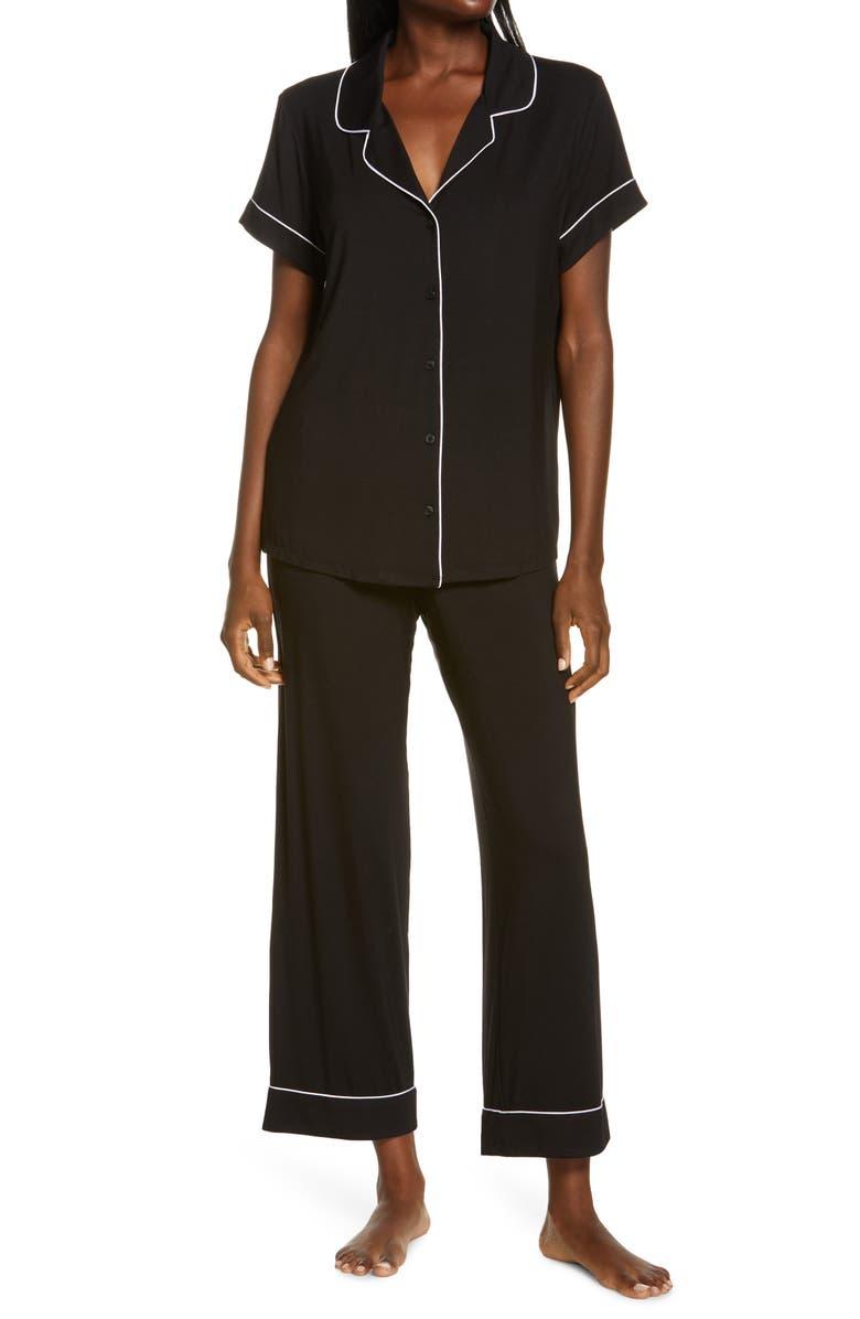 Moonlight Crop Pajamas, Main, color, BLACK