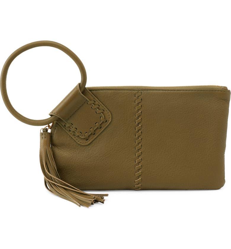 Sable Leather Clutch, Main, color, ALOE