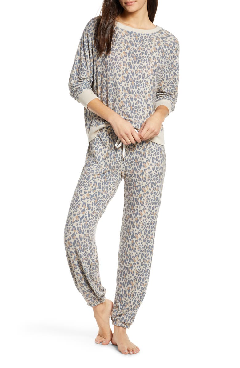 Star Seeker Brushed Jersey Pajamas, Main, color, NATURAL LEOPARD