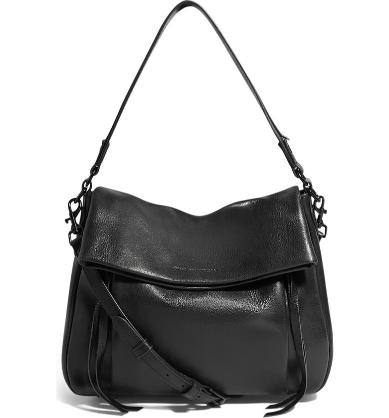 Golden Time Convertible Leather Hobo, Main, color, BLACK GLOVED TANNED
