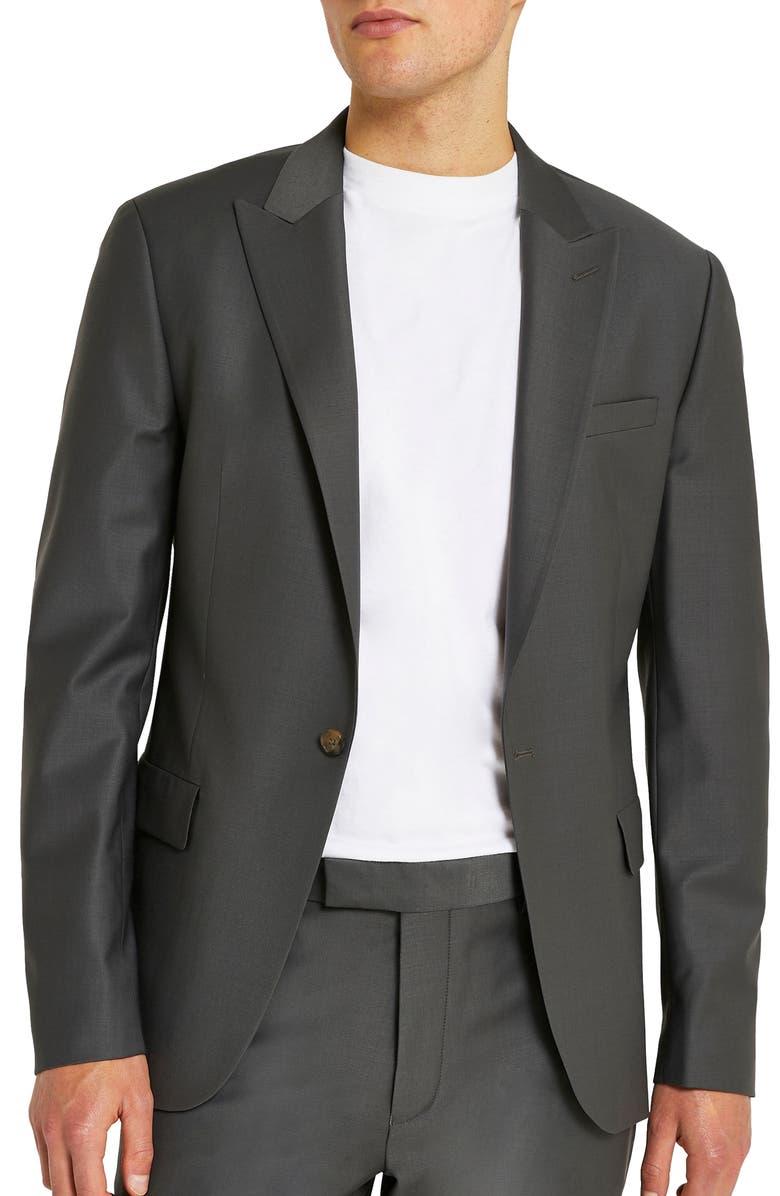 RIVER ISLAND Skinny Fit Suit Jacket, Main, color, GREY - DARK
