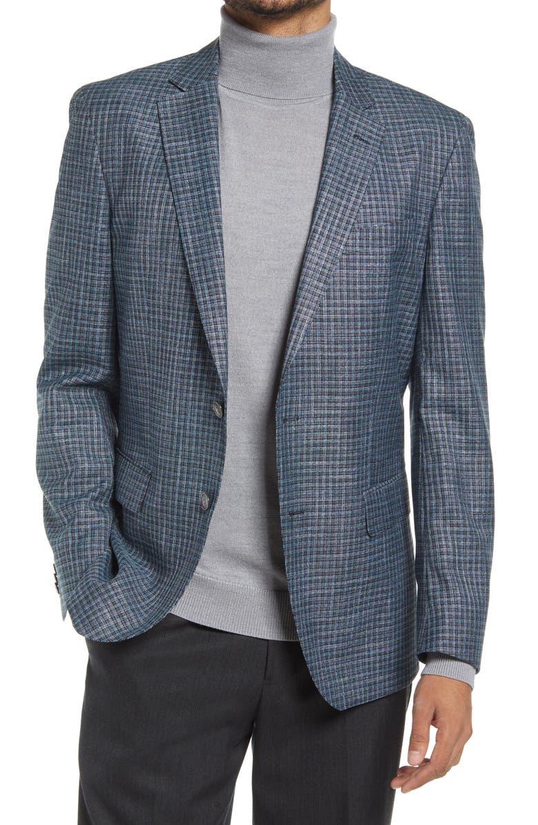 BOSS Hartlay Slim Fit Sport Coat, Main, color, TURQUOISE/AQUA