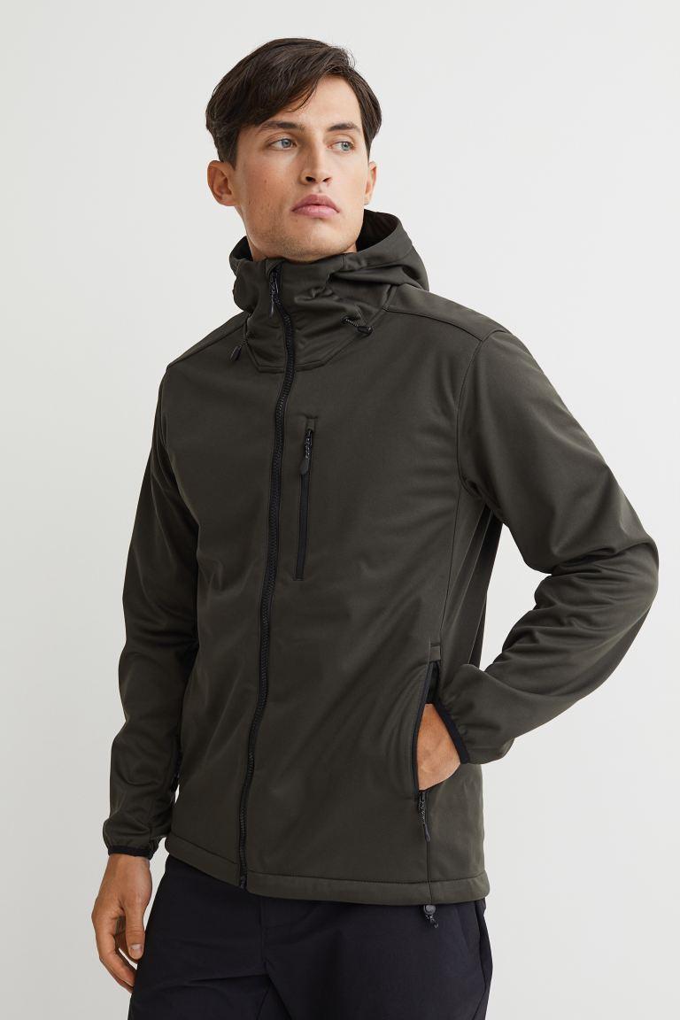 Regular Fit Softshell Jacket - Dark khaki green - Men   H&M US