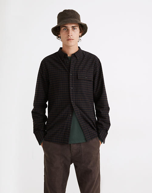 (Re)sponsible Perfect Long-Sleeve Shirt in Ramsey Plaid in basement brown