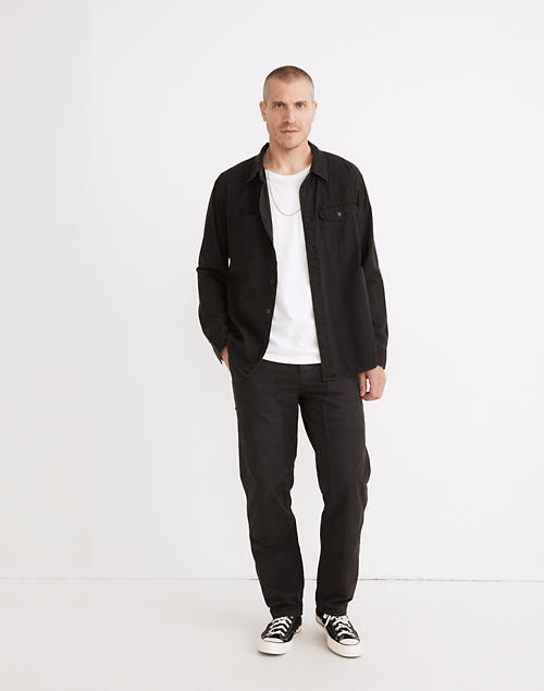 Relaxed Straight Workwear Pants in black coal