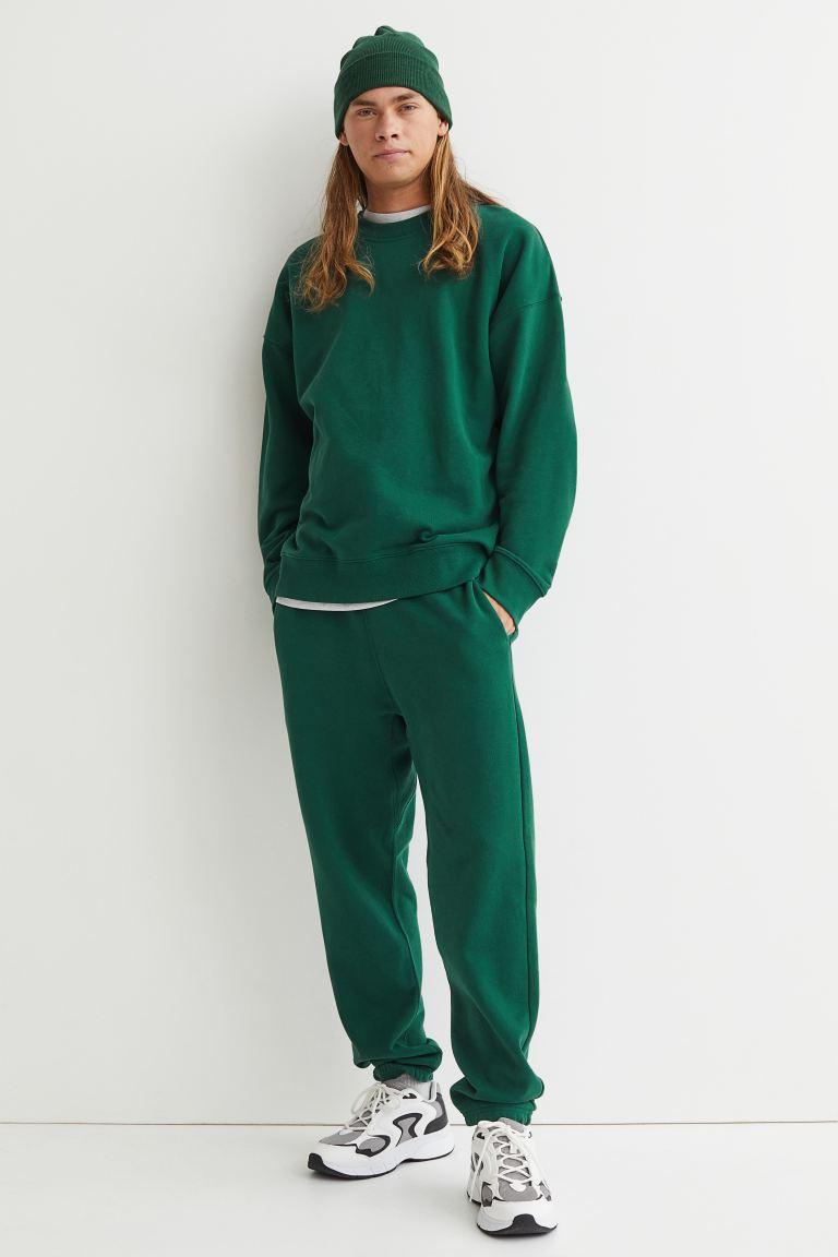 Cotton Joggers - Dark green - Men | H&M US