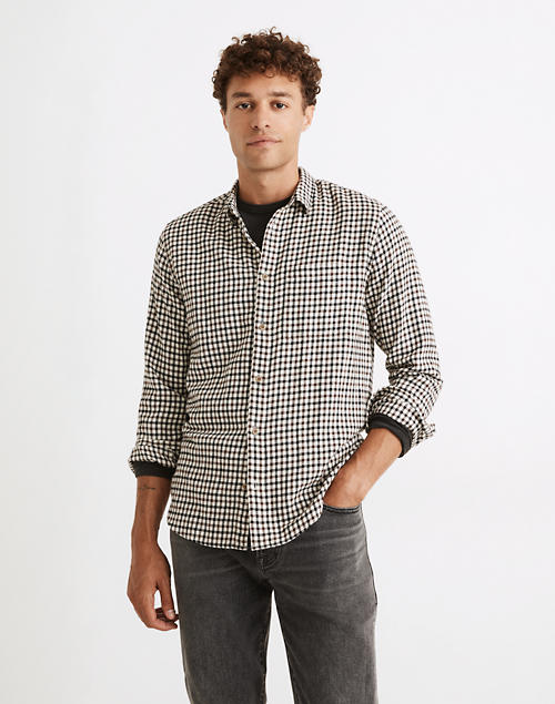 Brushed Twill Perfect Shirt in Plaid in basement brown