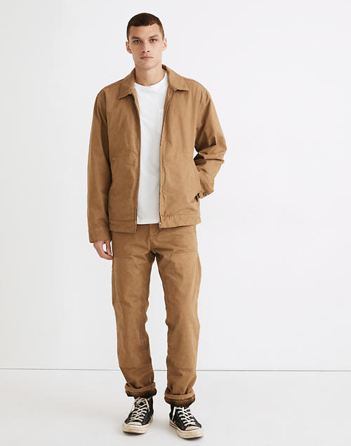 Garment-Dyed Relaxed Straight Workwear Pants in ashen birch