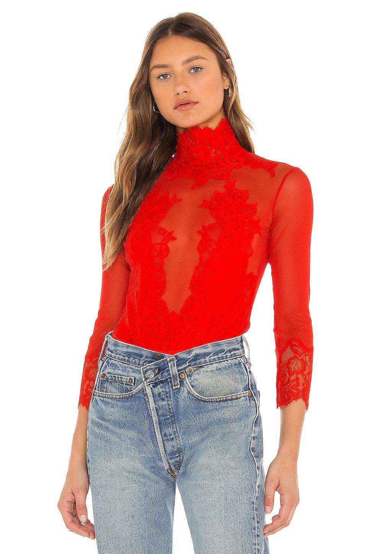 Take HAH Bow Bodysuit in Blood Orange