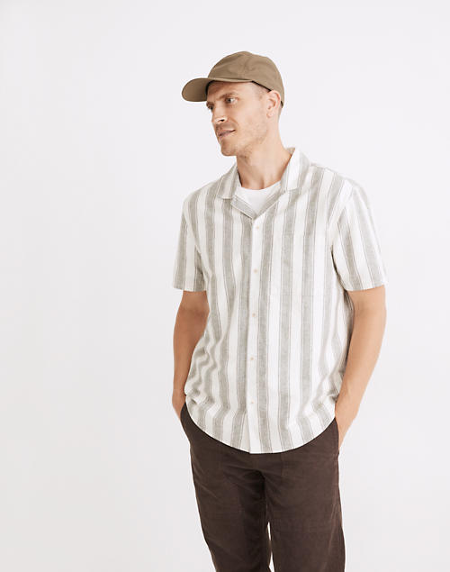 (Re)sponsible Easy Short-Sleeve Shirt in Stripe in capers