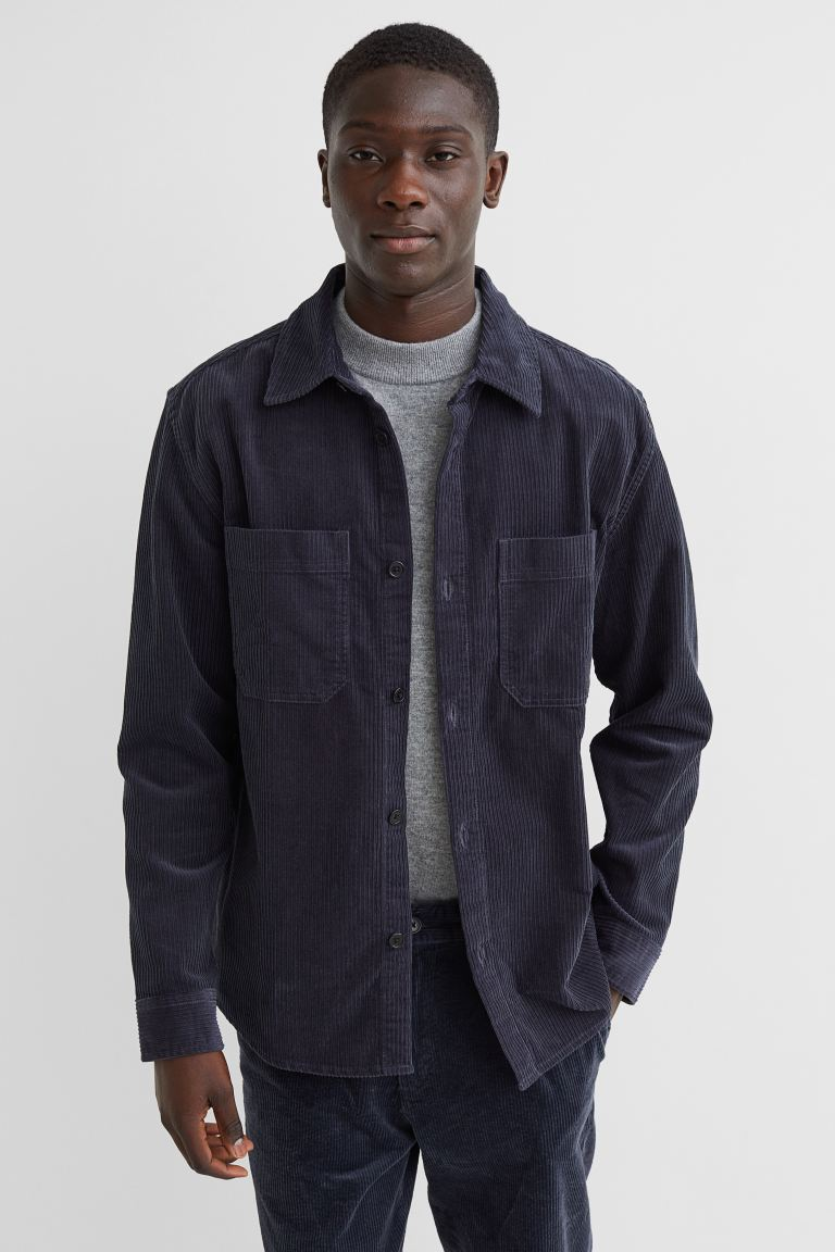 Corduroy Shirt Jacket - Dark blue - Men