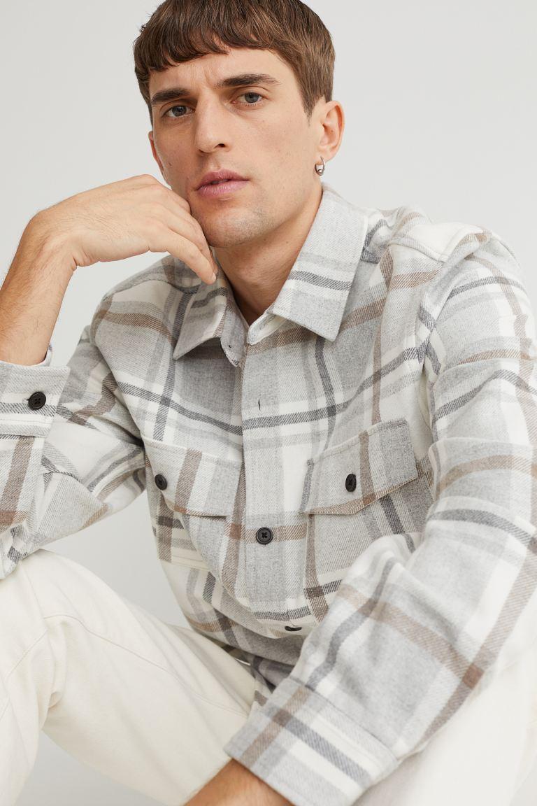 Twill Shirt Jacket - Light beige/plaid - Men