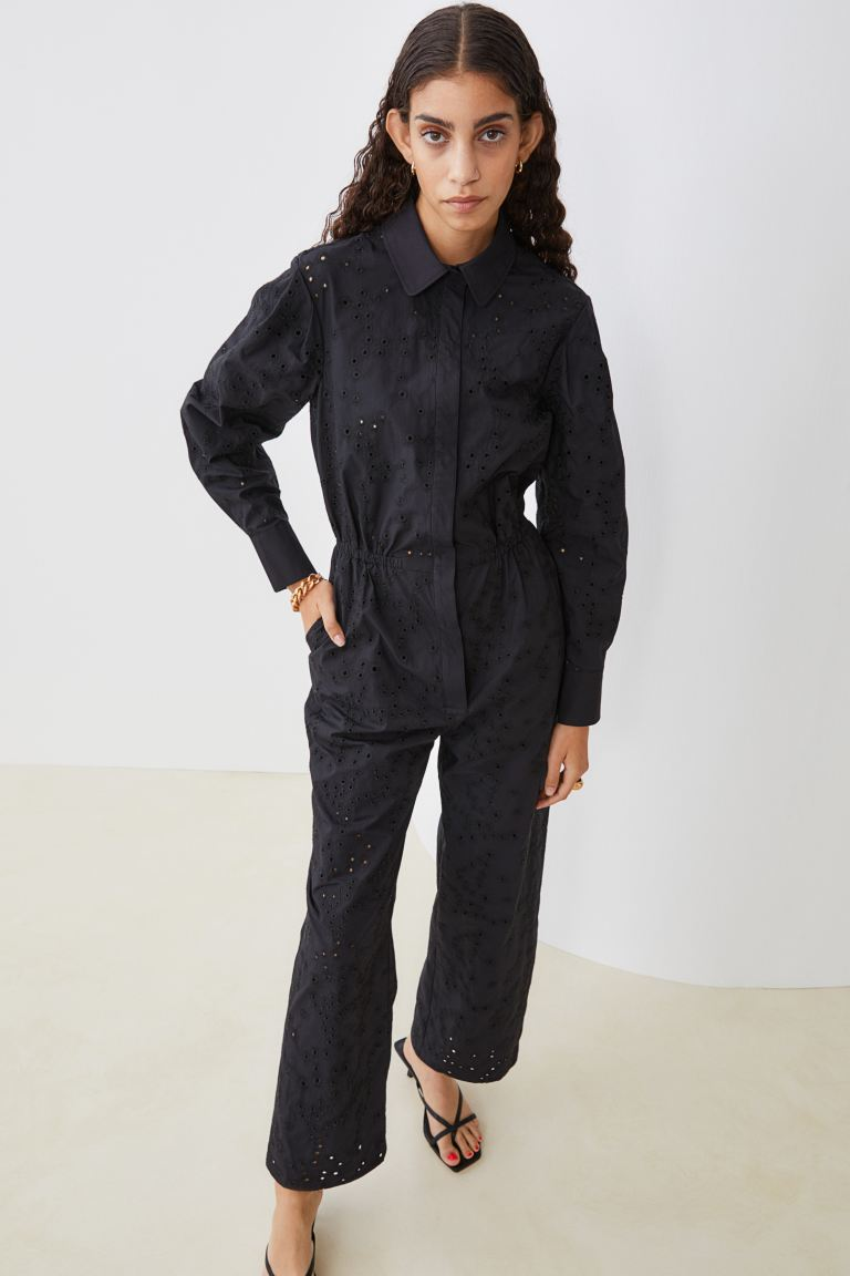 Eyelet-detail Jumpsuit - Black - Ladies