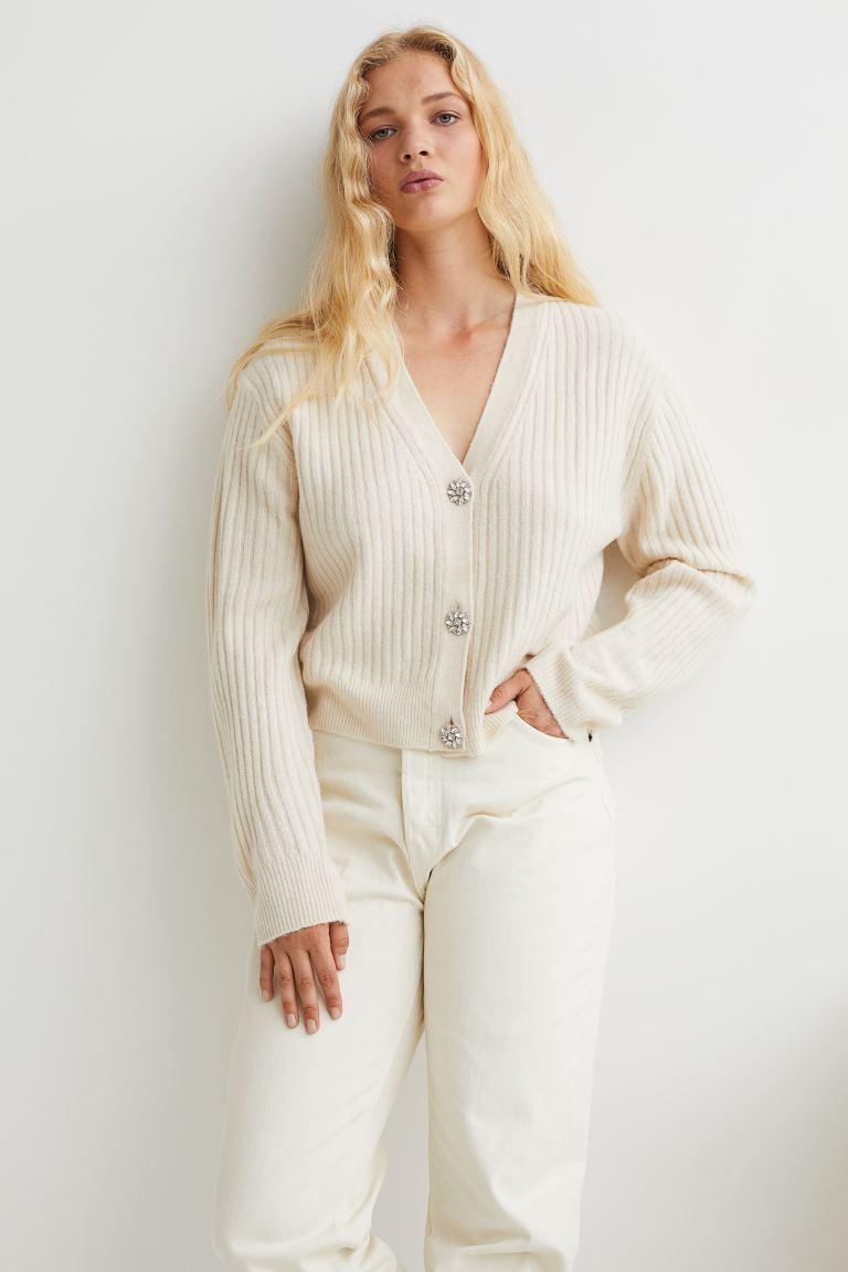 Rib-knit Cardigan - Light beige - Ladies
