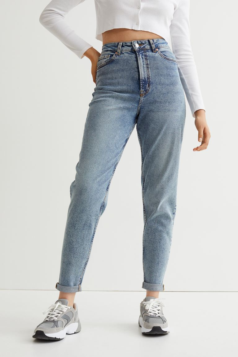 Mom High Ankle Jeans - Light denim blue - Ladies
