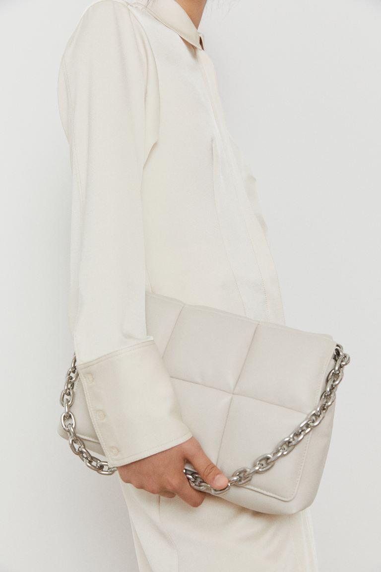 Quilted Shoulder Bag - Light beige - Ladies