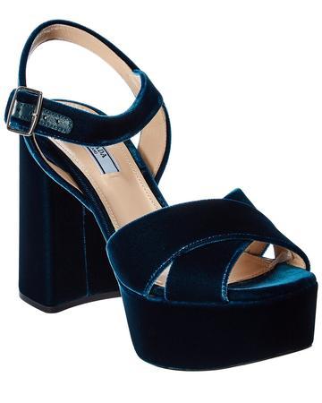 Prada Velvet Platform Sandal