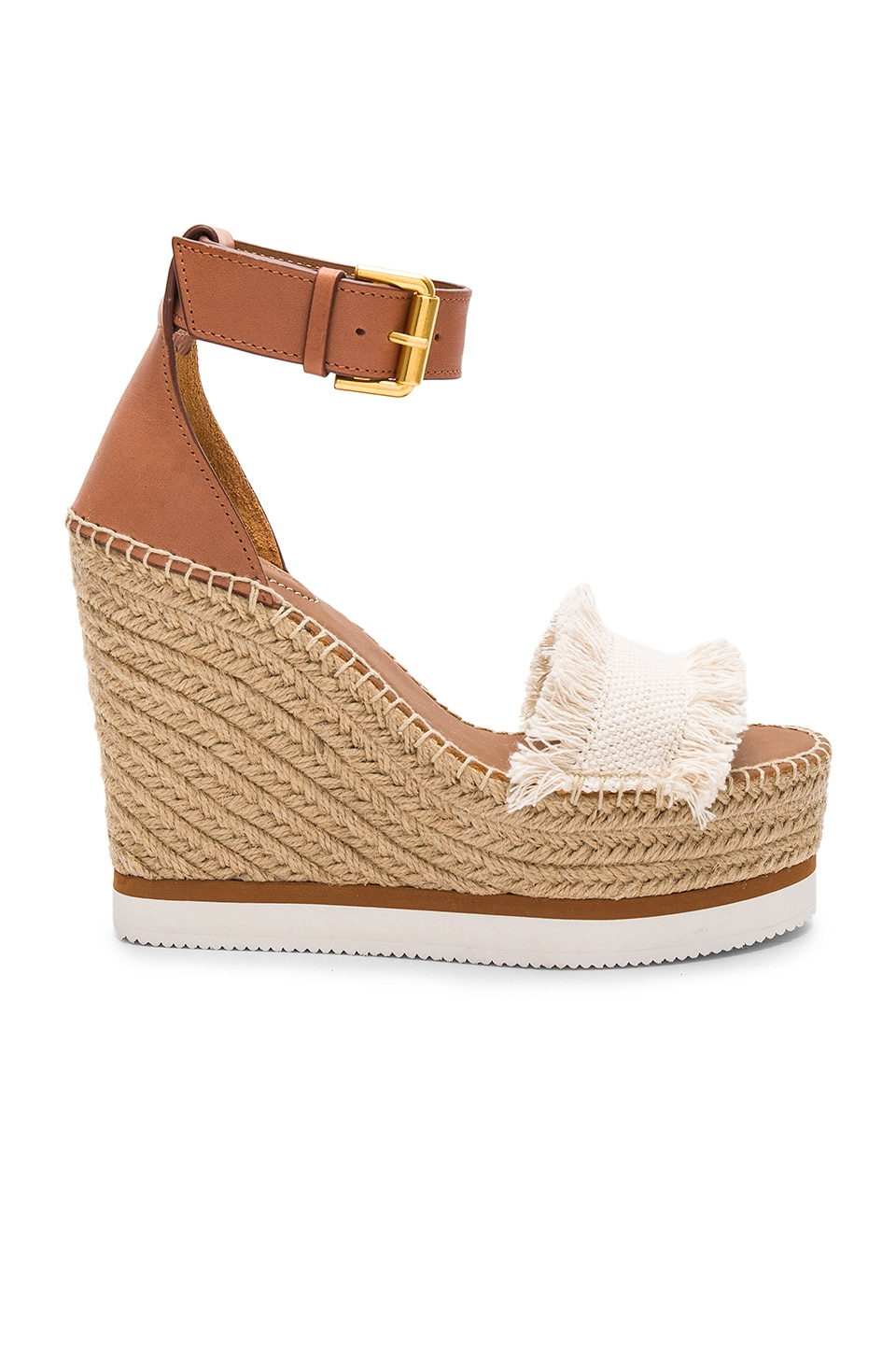 See By Chloe Frayed Wedge in Canvas   REVOLVE