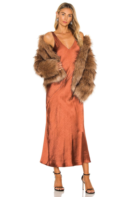 Line & Dot Loulou Satin Dress in Brown | REVOLVE