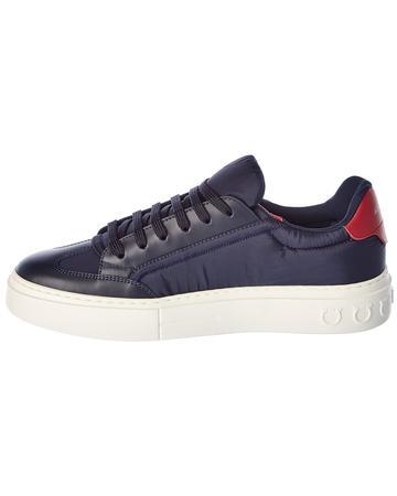 Salvatore Ferragamo Borg Leather-Trim Sneaker