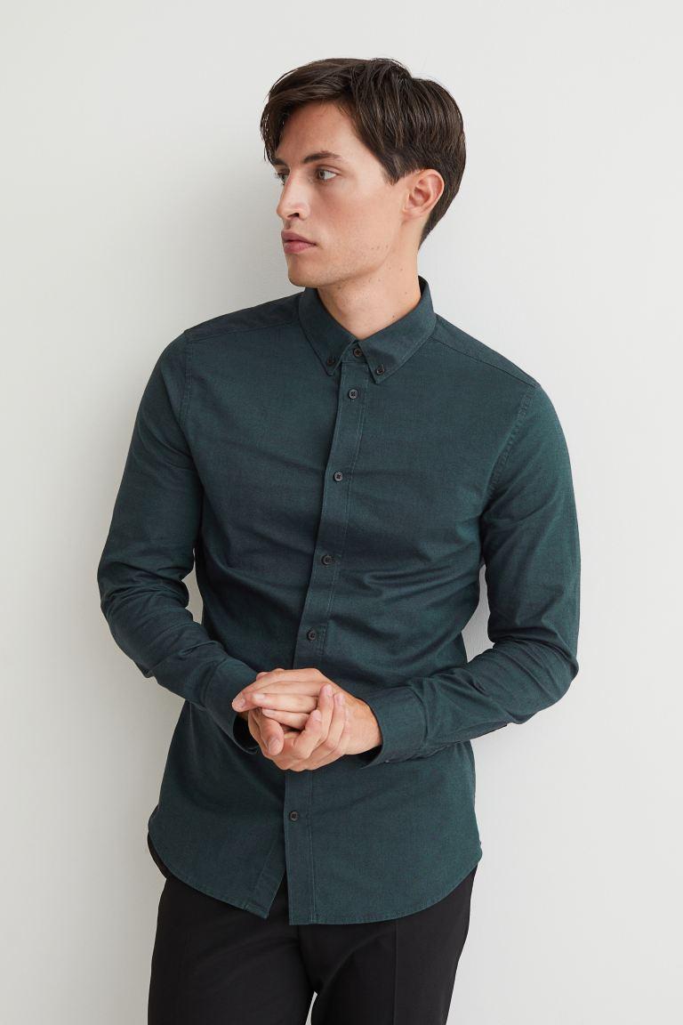 Muscle Fit Oxford Shirt - Dark green - Men