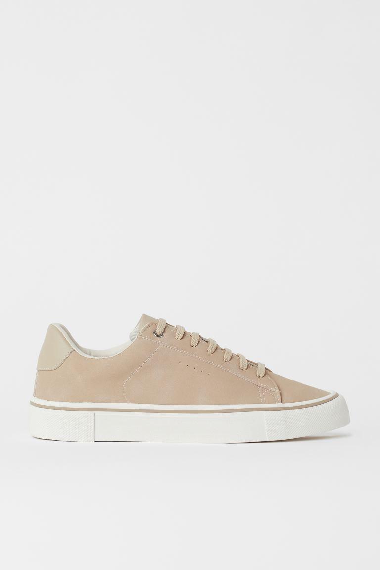 Faux Leather Sneakers - Beige - Men