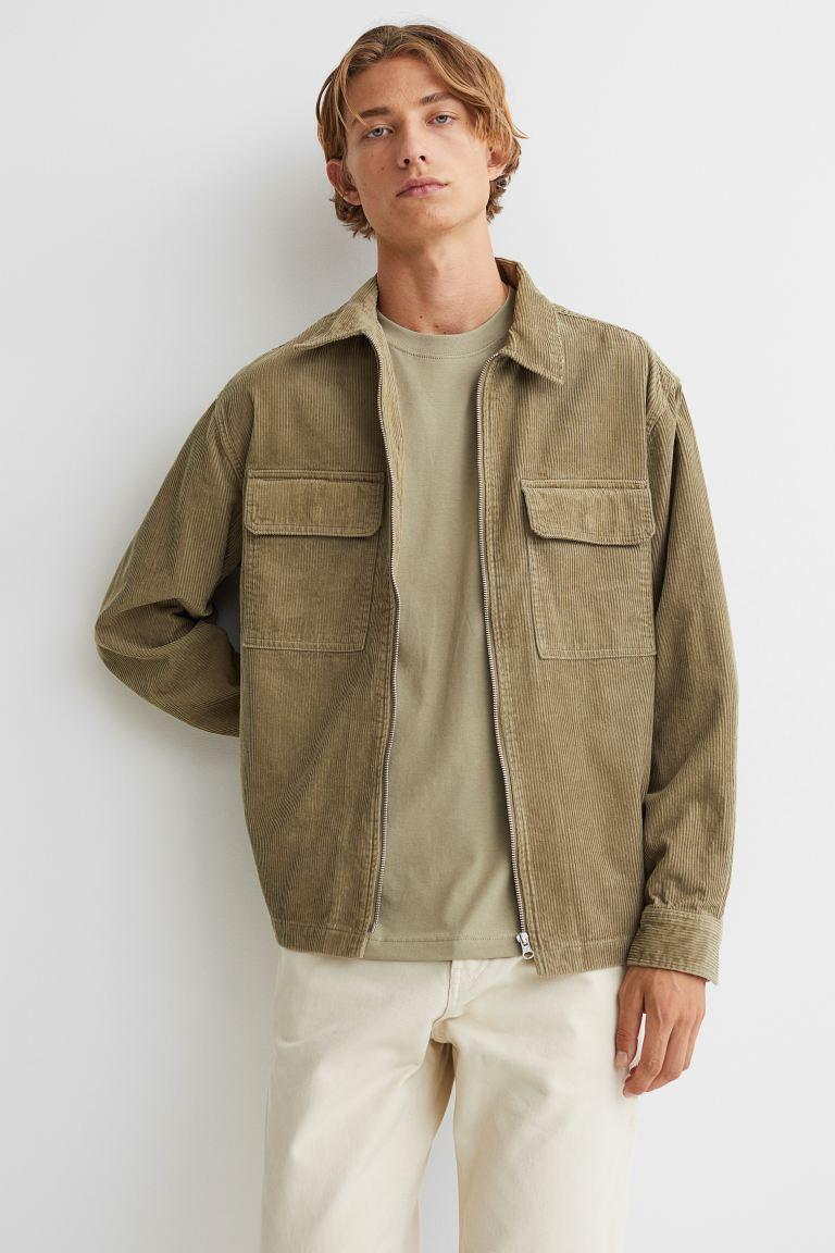 Corduroy Shirt Jacket - Khaki beige - Men