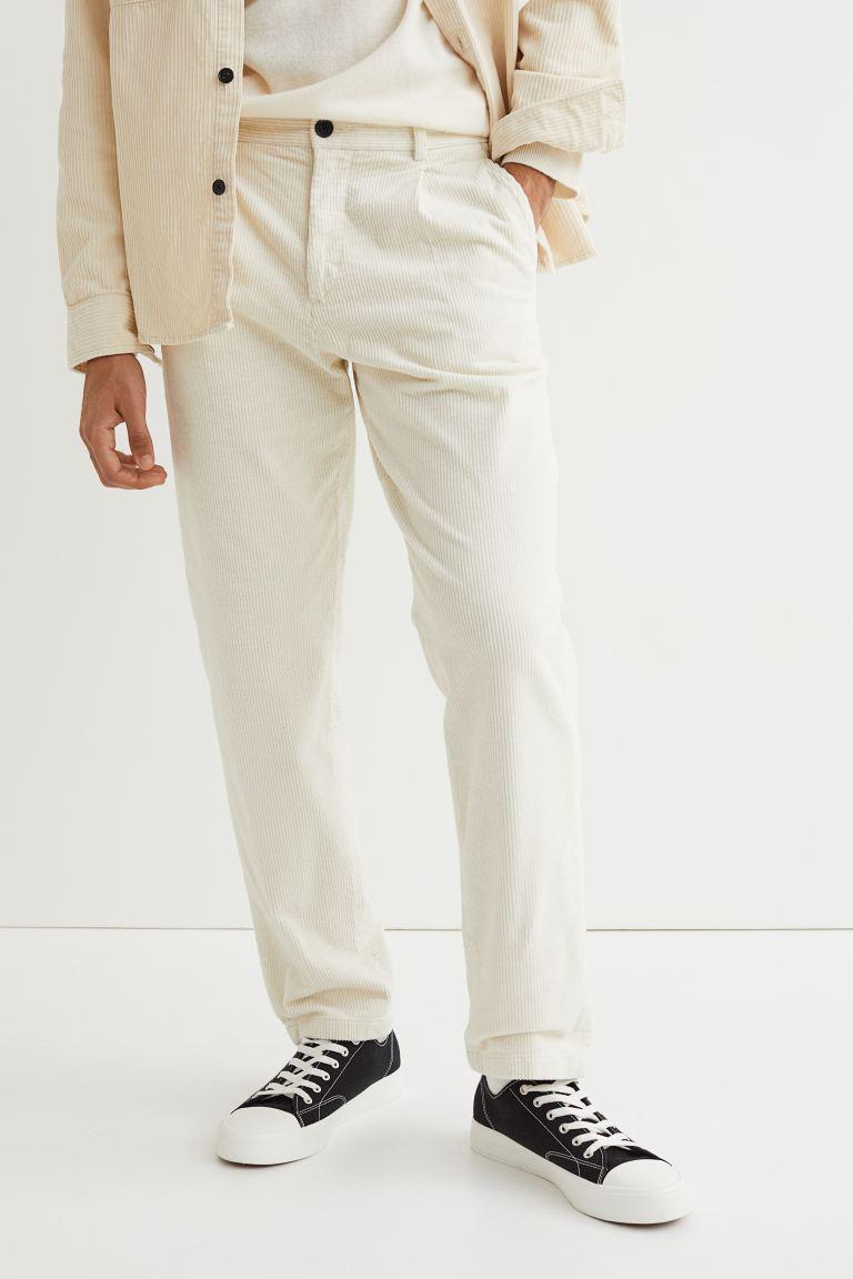 Regular Fit Corduroy Pants - White - Men