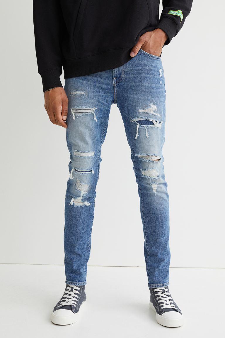 Skinny Jeans - Light denim blue/trashed - Men