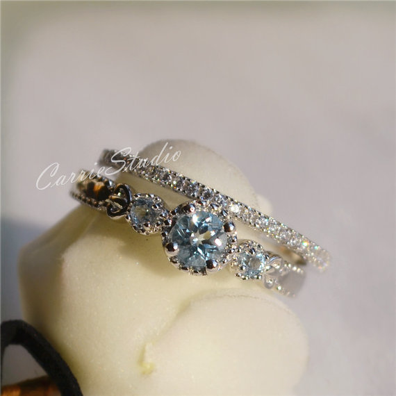 Antique Natural Aquamarine Ring Set Aquamarine Engagement Ring Set Wedding  Ring Set Anniversary Ring Birthday Present/Gift