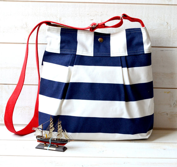 WATER PROOF Diaper bag / Beach tote Stripes Canvas Stockholm Navy ...