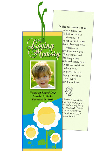 Playful Memorial Bookmark Template With Preprinted Title