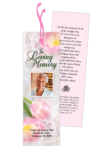 Pearls Memorial Bookmark Template With Preprinted Title