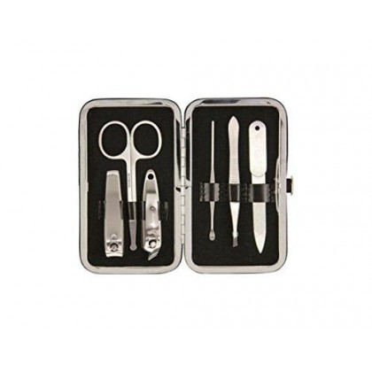 Brownlow Kitchen Gifts Faux Leather Manicure Set with Scripture, Black
